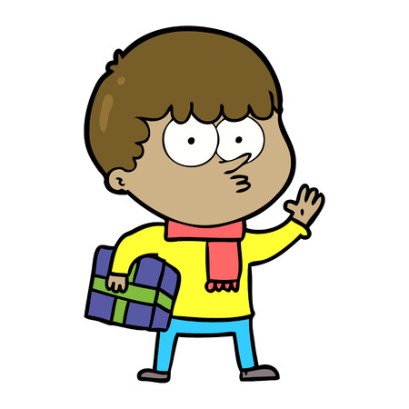 cartoon curious boy carrying a gift