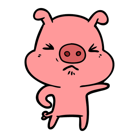 Hand drawn cartoon angry pig Illustration