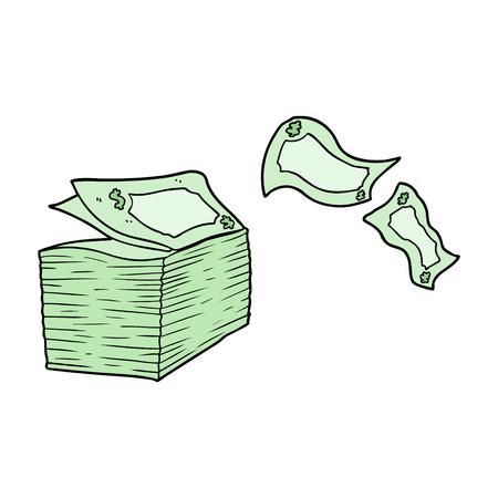 cartoon geld waait weg