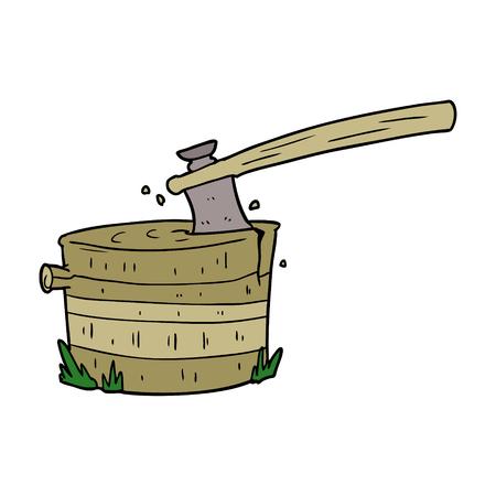 斧で漫画の木の切り株  イラスト・ベクター素材