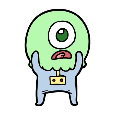 cartoon cyclops alien spaceman Ilustração