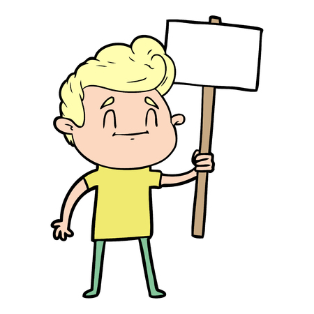 happy cartoon man with sign