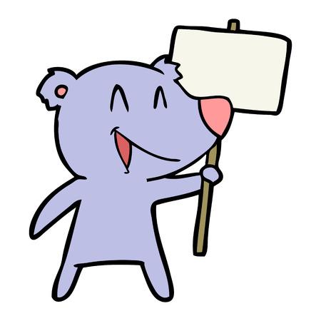 protester bear cartoon Stock Vector - 94854784