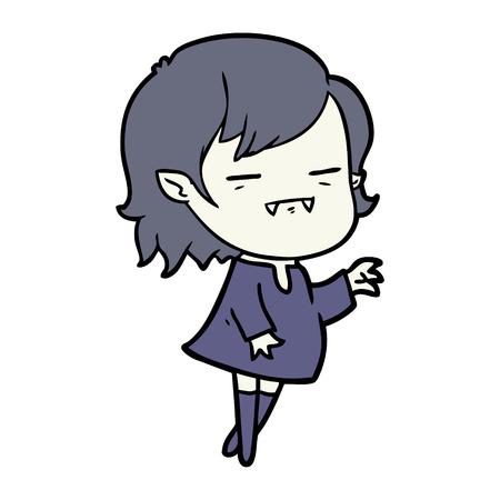 cartoon undead vampire girl reaching out Çizim