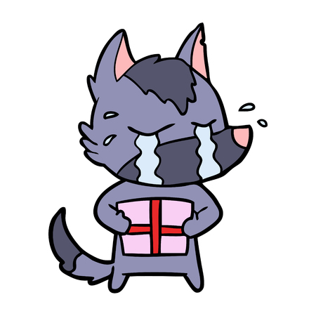 cartoon crying wolf with christmas present