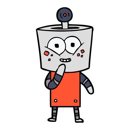 happy cartoon robot giggling Illustration