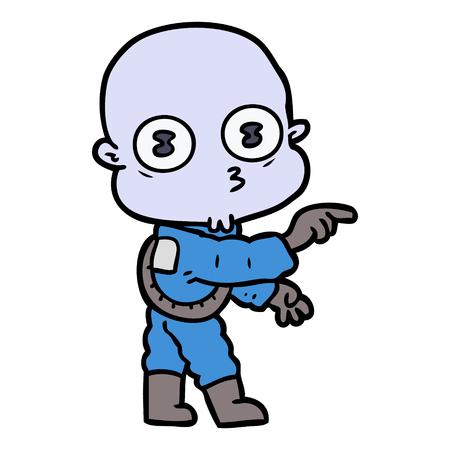 cartone animato strano astronauta calvo che punta