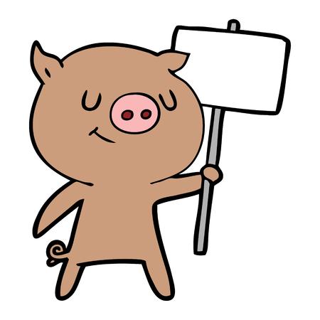 happy cartoon pig with placard