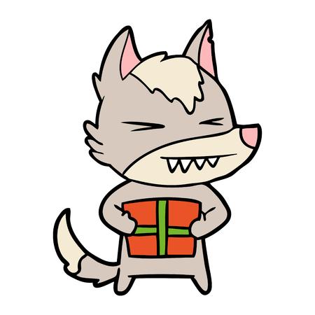 angry christmas wolf cartoon
