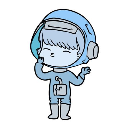 cartoon curious astronaut wondering Stock Vector - 94880584