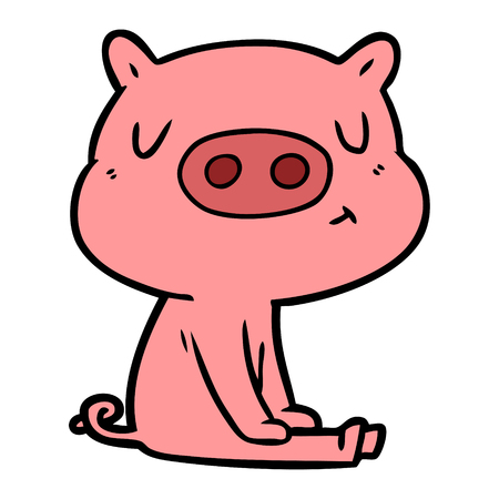 cartoon content pig meditating