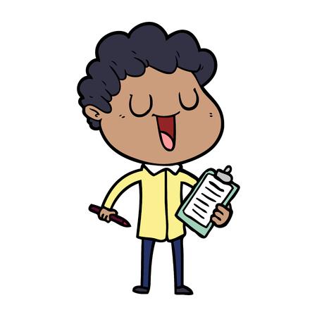 クリップボードとペンで笑う漫画の男  イラスト・ベクター素材