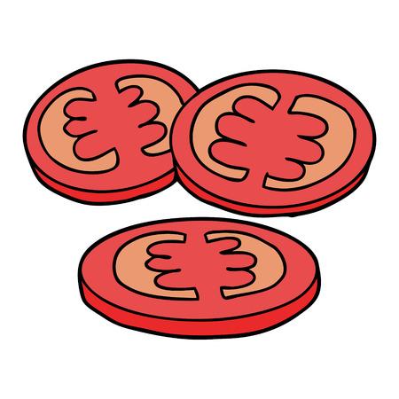 sliced tomatoes cartoon Ilustração