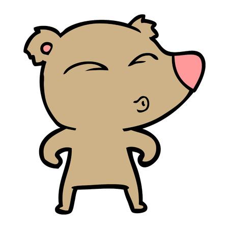 cartoon whistling bear