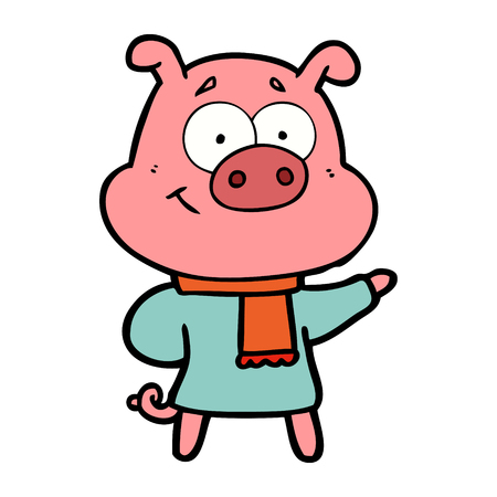 happy cartoon pig wearing warm clothes