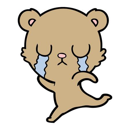 huilende cartoon beer wegrennen Stock Illustratie