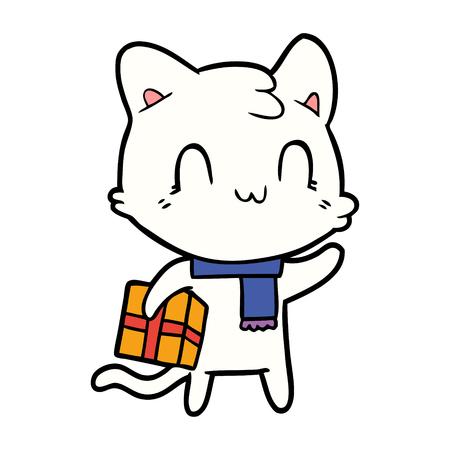 cartoon happy cat wearing scarf