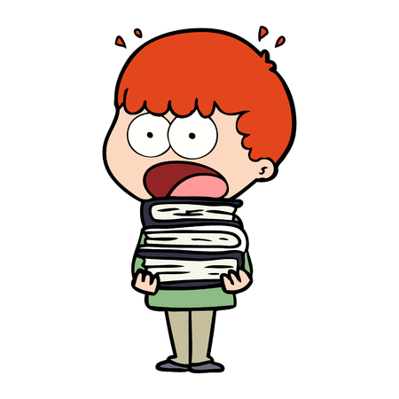 cartoon shocked boy with stack of books Illustration