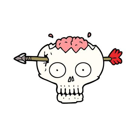 脳を通して矢印を持つ漫画の頭蓋骨