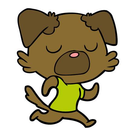 漫画犬ジョギング  イラスト・ベクター素材