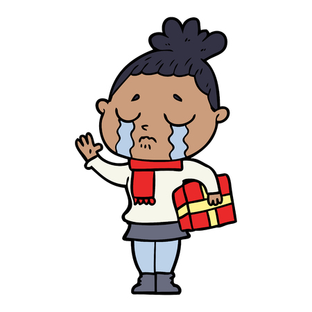 cartoon crying woman with christmas gift