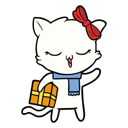 cartoon girl cat with christmas present