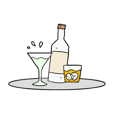cartoon drankjes op dienblad