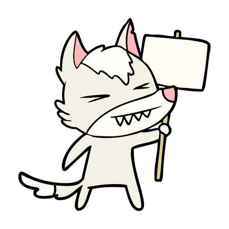 angry wolf cartoon with placard