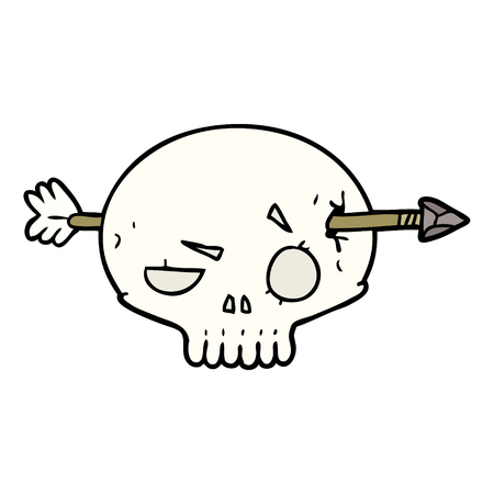 矢印で通り抜けた漫画の頭蓋骨  イラスト・ベクター素材