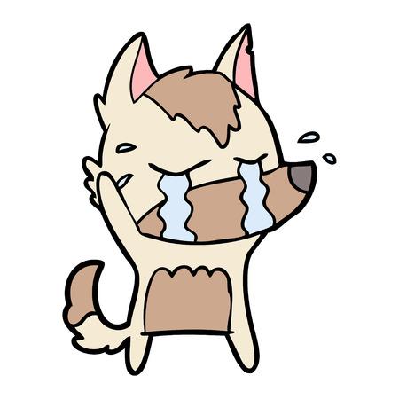 cartoon crying wolf Illustration