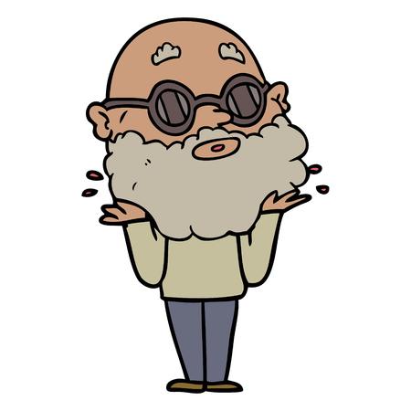 あごひげとサングラスを持つ漫画好奇心旺盛な男