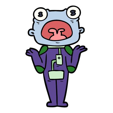Estrangeiro estranho dos desenhos animados que shrugging ombros Foto de archivo - 94884926