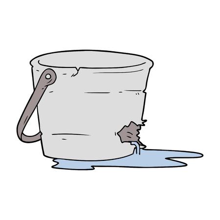 broken bucket cartoon Ilustração
