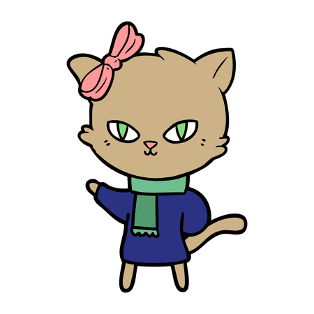cute cartoon cat in winter clothes Ilustracja