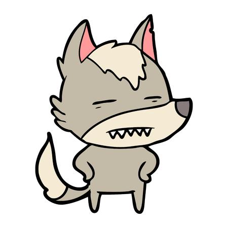 cartoon wolf showing teeth Illustration