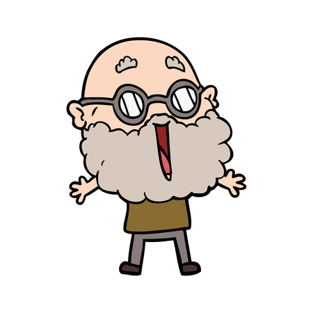 cartoon joyful man with beard