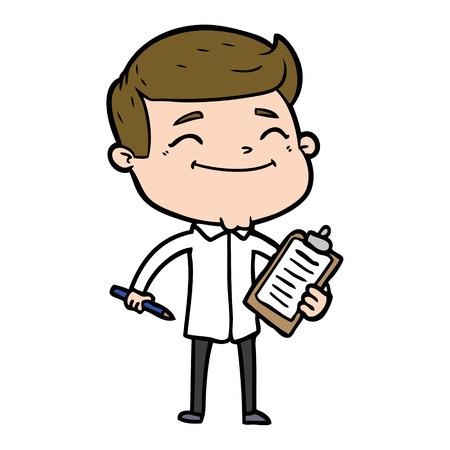 Happy cartoon man taking survey