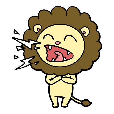 Lion rugissant de dessin animé Illustration vectorielle. Banque d'images - 94907722