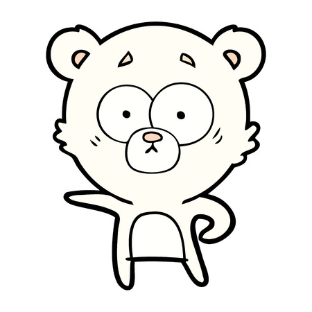 verrast ijsbeer cartoon vectorillustratie.