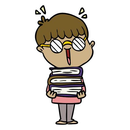cartoon jongen met geweldige boeken