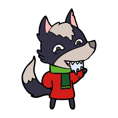 Cartoon hungry wolf in winter clothes