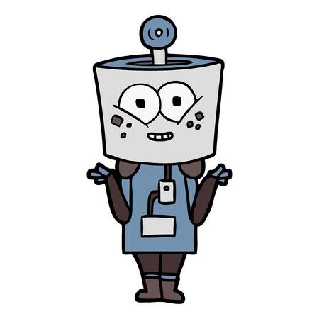 happy cartoon robot shrugging shoulders