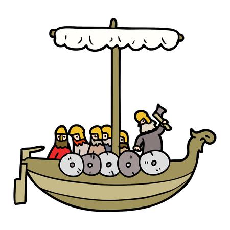 cartoon vikingen zeilen Vector illustratie. Stock Illustratie