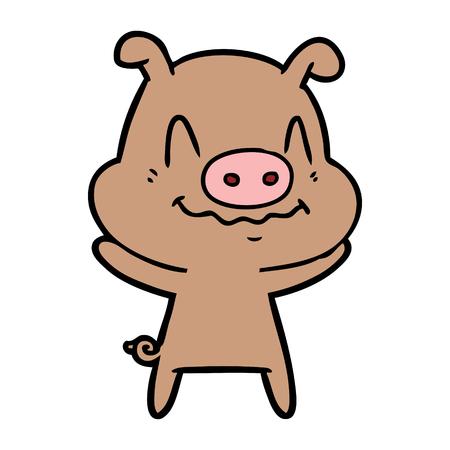 긴장된 만화 돼지 일러스트