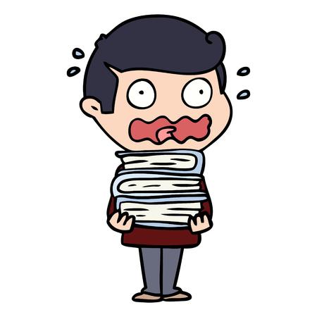 완전히 스트레스를받은 만화책 남자 일러스트