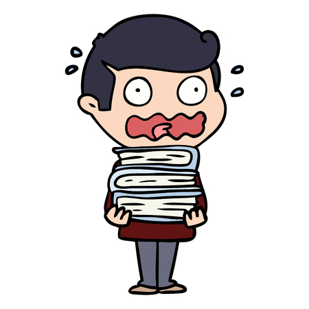 cartoon man with books totally stressed out