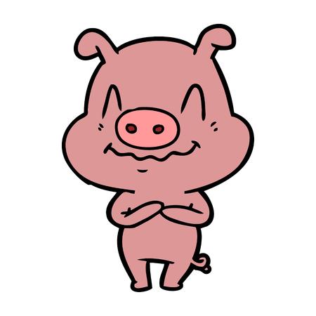 神経質な漫画の豚