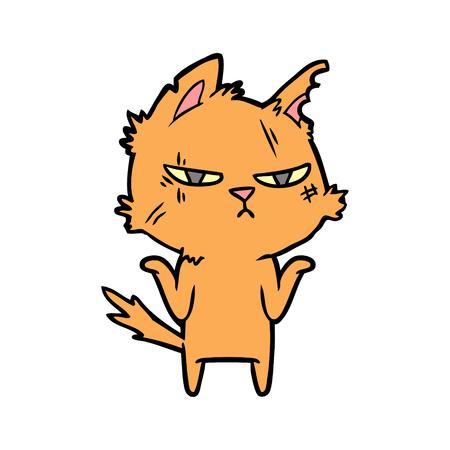 tough cartoon cat Illustration