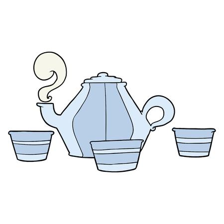 cartoon teapot and cups Reklamní fotografie - 94972946