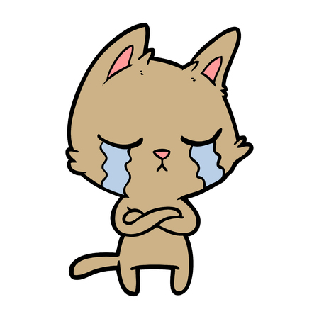 crying cartoon cat with folded arms